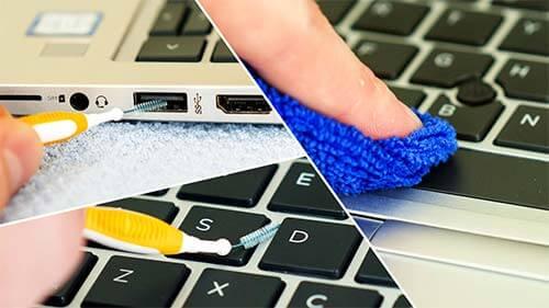 очищаем поверхность лэптопа