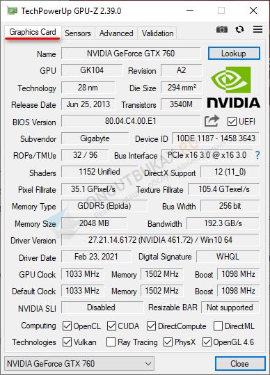 техническая информация о видеокарте в gpu z