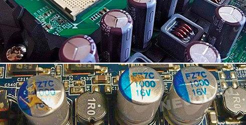 вздувшиеся конденсаторы на плате