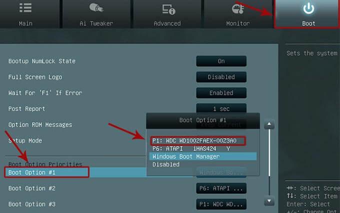 приоритет загрузки накопителей в BIOS