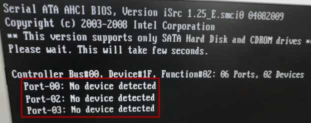 черный экран с no device detected