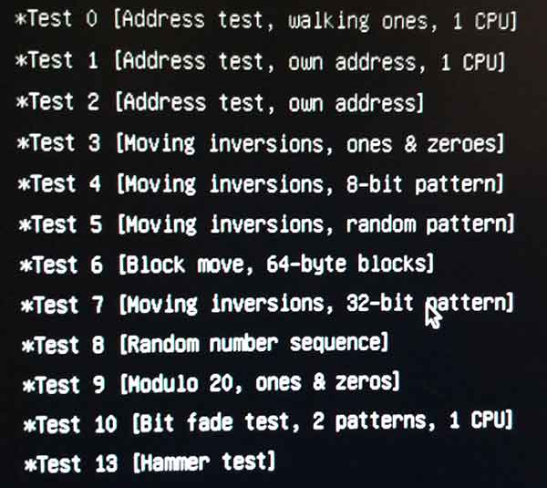 список тестов