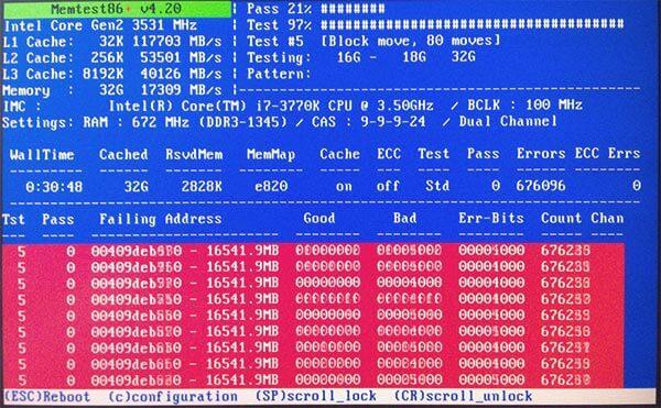 ошибки оперативной памяти в программе memtest