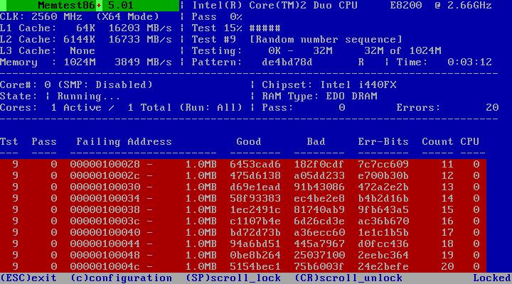 memtest86 проверка оперативной памяти