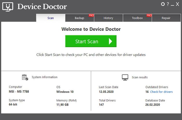 обновите драйвера windows с помощью Device Doctor