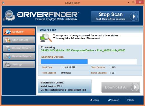 поиск драйверов в программе Driver Finder
