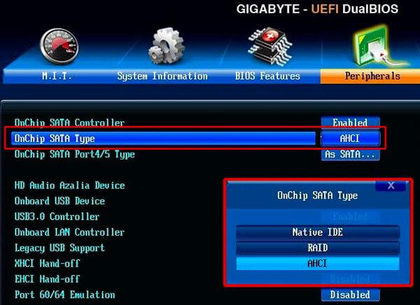 режим работы SATA контроллера