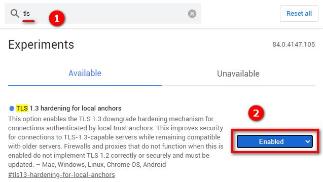 включение tls в google chrome