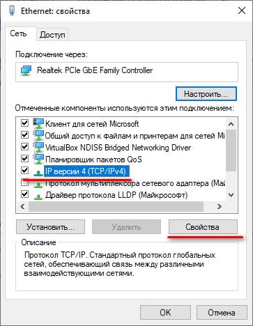конфигурация ipv4