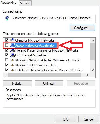выключаем appex networks accelerator