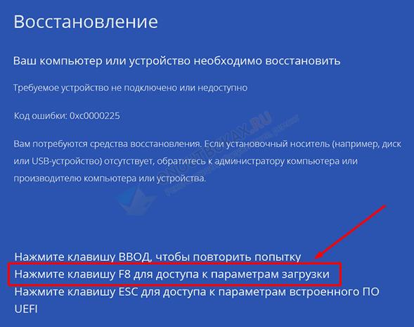 синее окно с кодом ошибки 0xc0000225