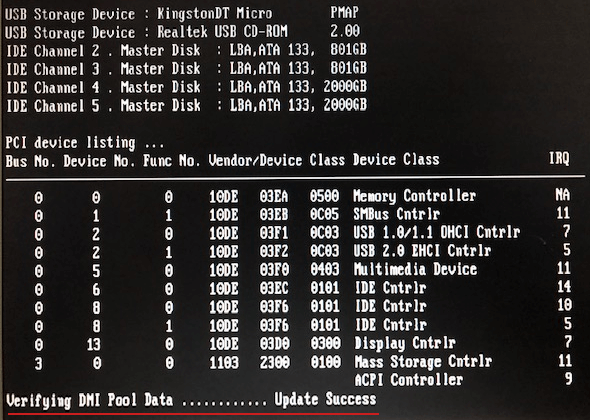 фото черного экрана монитора с текстом verifying dmi pool data update success