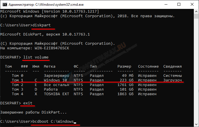 определяем раздел с windows через diskpart