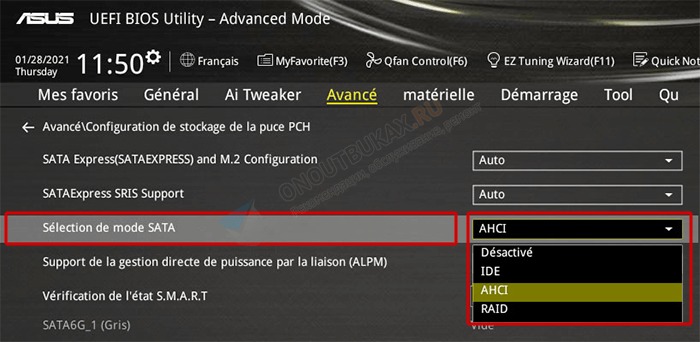 sata mode в asus uefi bios utility