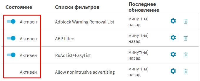 список фильтров